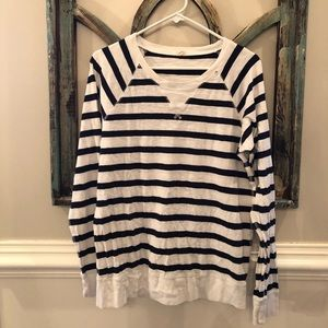 J Crew size L long sleeve navy striped Tee!